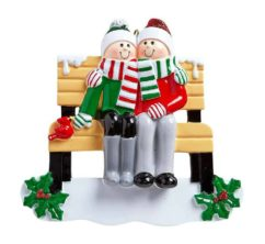 Bench Personalised Christmas Ornament – Family of 2 Family of 2