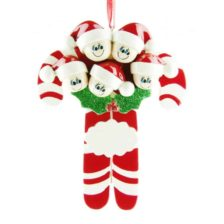 Candycanes Personalised Christmas Ornament – Family of 5 Family of 5