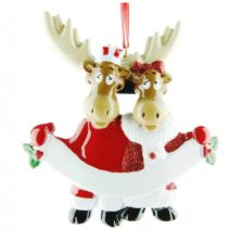 Moose Family Personalised Christmas Ornament – Family of 2 Animals