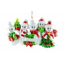 Snowman Personalised Christmas Ornament – Family of 5 Family of 5